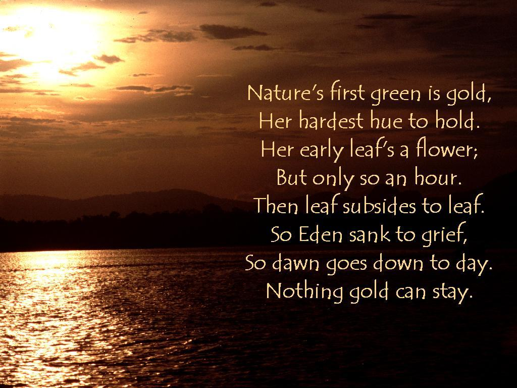 nothing gold can stay interpretation Get an answer for 'what kind of imagery is used in the poem nothing gold can stay' and find homework help for other robert frost questions at enotes.